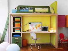 Modernes Hochbett mit Schreibtisch von dearkids : moderne Kinderzimmer von MOBIMIO - Räume für Kinder