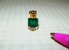 Miniature TINY Perfume Bottle/Crystal Base, EMERALD: DOLLHOUSE 1/12 Scale Mini Makeup, Miniature Bottles, Gold Top, Dollhouse Miniatures, Swarovski Crystals, Emerald, Perfume Bottles, Artisan, Stud Earrings