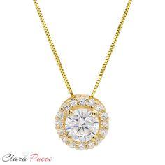Clara Pucci 0.60 CT Brilliant Round Cut CZ 7-Stone Simulated 14K White Gold Pendant Necklace 16 Chain
