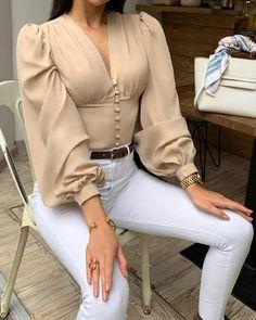 V-Neck Solid Lantern Sleeve Casual Blouse - Shein - Women's fashion interests 40s Fashion, Fashion Mode, Look Fashion, Fashion Dresses, Womens Fashion, Fashion Trends, Fashion Blouses, Hipster Fashion, Fashion Hats
