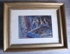 Vtg Allan Jones Nautical Charcoal Fisherman & Nets Dock Scene Original Artwork  #Impressionism $865.99