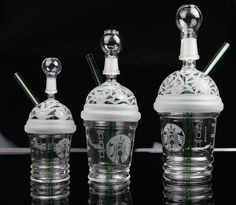 2015 New Starbuck Cup Original Opaque Bright green dab concentrate oil rig glass bong glass dome and nail Hookah glass water pipe
