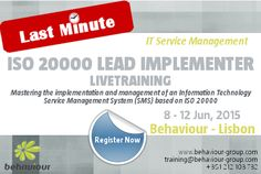 LAST MINUTE REGISTRATION for ISO 20000 Lead Implementer (Livetraining) Course. REGISTER ONLINE. Master the implementation and management of an Information Technology Service Management System (SMS) based on ISO 20000.