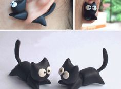 Flying Kitty 3D Fimo Clay Ear Stud (Single) | LilyFair Jewelry