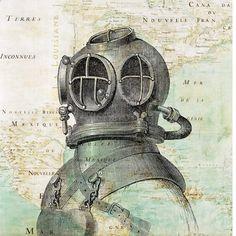 Printland - Scuba Diver Helmet Print on antique map of East America Wall Art, Matte Print, Vintage map and illustration