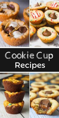 Cookie Cup Recipes. Peanut butter cookie cups, sugar cookie cups and brownie cookie cups.