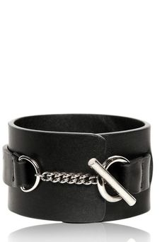 Leather and Metal Detail Small Cuff by Dior