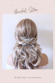 This Pin was discovered by Bridal Star wedding hair accessories. Discover (and save!) your own Pins on Pinterest. Boho Wedding Hair, Wedding Hair Clips, Wedding Hair Down, Star Wedding, Wedding Dress, Bridal Hair Half Up, Bridal Hair Vine, Bridal Veils, Pearl Bridal