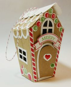 Gingerbread House Ornament for 2016 ~ Stampin Up Home Sweet Home Thinlits and Sweet Home stamp set. I cut out the Gingerbread Man from the Candy Cane Lane Designer Series Paper - Bobbi Kincel