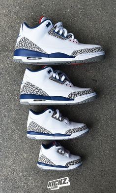 The Jordan 3 Retro 'True Blue' Family Pack dropped today! Get yours and some for your lil' ones now!