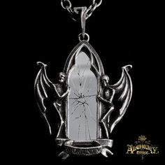 Alchemy Gothic pendant depicting a broken mirror. Winged skeletons appearing out from beyond the grave, are placed on each side of the mirror as to support ...By Alchemy Gothic