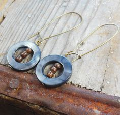 Unbounded Earrings - black / grey shell - long kidney earwire - antique brass / gold