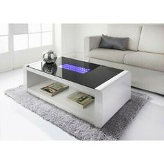 HIGH GLOSS BLACK Coffee Table with LED Lighting - Tiffany Range TIFF010 - £229.97 | PicClick UK Mirrored Coffee Tables, Home Coffee Tables, Black Coffee Tables, Unique Coffee Table, Coffee Table Rectangle, Glass Top Coffee Table, Coffee Table Design, Coffee Table With Storage, Glass Table