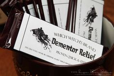 """Dementor Relief"" candy bars for a Harry Potter Party. View more photos from this party at http://sparklerparties.com/party-gallery/harry-potter-party/"
