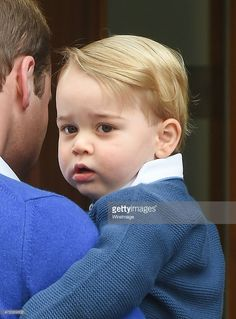 Prince George of Cambridge arrives with Prince William, Duke of Cambridge at the Lindo Wing following the birth the Duke and Duchess' second child at St Mary's Hospital on May 2, 2015 in London, England.