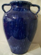 1930'S McCoy Pottery Double Handle Blue And White Oil Jar #D95.