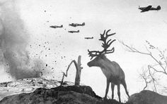 A shell-shocked reindeer looks on as war planes drop bombs on Russia in 1941.