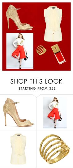 """""""Color Study: Red"""" by curiouslittlebird on Polyvore featuring Gianvito Rossi, Relaxfeel, James Lakeland, Gorjana, Yves Saint Laurent, classy and Elegant"""