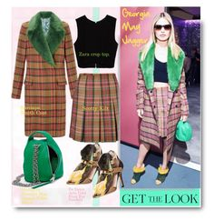 """""""Get the look: Georgia May Jagger."""" by hamaly ❤ liked on Polyvore featuring Zara, De Siena, GetTheLook, StreetStyle, plaidshirt, furcoats and waystowear"""