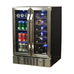 NewAir 23.5 in. 18-Bottle and 60 Can Dual Zone Built-In Compressor Wine and Beverage Cooler, Black/Silver