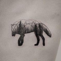 Creative wolf tattoo by Oliver Whiting 3d Wolf Tattoo, Wolf Tattoos, Nature Tattoos, Animal Tattoos, Tree Sleeve, Geometric Wolf, Handpoke Tattoo, Cute Tats, Wolf Design