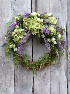 Hydrangea Wreath Summer Wreath Front Door by KathysWreathShop, $99.99