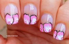 #Floral #Frenchmanciure Using  #Acrylicpaint French Manicure Nails, French Manicure Designs, Nail Designs, Easy Nail Art, Nail Tutorials, Simple Nails, Easy Diy, Floral, Nail Desighns