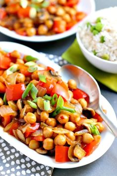Chickpea Stir Fry is quick to make with simple ingredients. This Chinese-influenced recipe is vegan, gluten-free, oil-free, and soy-free. It's the perfect plant-based alternative for those who don't like tofu. I absolutely love stir fry. Chickpea Recipes, Vegan Dinner Recipes, Delicious Vegan Recipes, Vegan Dinners, Whole Food Recipes, Vegetarian Recipes, Healthy Recipes, Vegan Vegetarian, Free Recipes