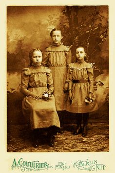 Bertha Sias (1886-1988), aged 14 in the picture and her sisters Mercie and Connie, Berlin, New Hampshire, 1900.