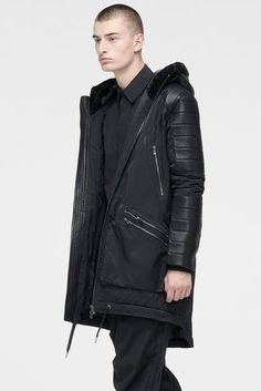 LONG PARKA WITH SHEARLING BLACK ON BLACK