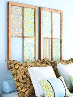 diy headboards: window pane & cutesy fabrics.