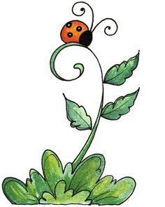ladybug on stem Doodle Art, Doodle Drawings, Easy Drawings, Envelope Art, Watercolor Cards, Mail Art, Rock Art, Painted Rocks, Painting & Drawing