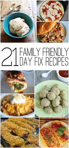 A great round up of 21 family friendly recipes to make on the 21 Day Fix