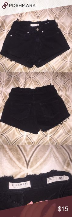 Bullhead Black distressed High Waisted Shorts Pacsun's brand black distressed high waisted shorts! I took pics of the detail of distress. Super super cute!! I wore this and still perfect condition 😊 PacSun Shorts Jean Shorts