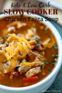 Are you looking for a delicious and low carb recipe? You will love this keto friendly crock pot chicken fajita soup. This recipe is quick, easy and low carb. It's great for those busy weeknights! #eatingonadime #recipes #quickandeasy #dinner #dinnerrecipes #dinnerideas #recipeideas #recipeoftheday #slowcooker #slowcookerrecipes #crockpot #crockpotrecipes #souprecipes Fajita Soup Recipe, Chicken Fajita Soup, Stew Chicken Recipe, Chicken Recipes, Low Carb Soup Recipes, Easy Soup Recipes, Keto Recipes, Recipes Dinner, Healthy Recipes