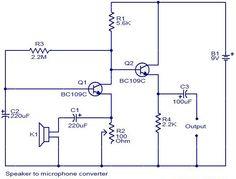 Speaker to microphone converter circuit diagram