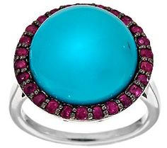 Sleeping Beauty Turquoise & 0.65 ct tw Thai Ruby Sterling Ring