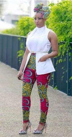 african inspired fashion, african print pants and headwrap African Inspired Fashion, African Print Fashion, Africa Fashion, Fashion Prints, African Attire, African Wear, African Women, African Style, Tribal African