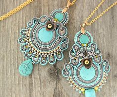 Turquoise boho necklace beaded turquoise pendant soutache by pUkke