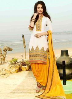Yellow and White Punjabi Suit