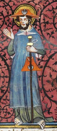 Detail Royal MS 16 G VI f.165r, 1332-1350 Medieval Life, Medieval Art, 14th Century Clothing, Pilgrim Clothing, Medieval Embroidery, Art Antique, Plantagenet, Saint Jacques, Medieval Costume