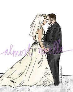 Custom drawing of wedding photo. Anniversary idea.