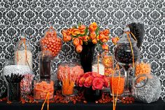 Orange and Black Candy Buffet — Candy Buffets — Wedding Candy — Nuts.com