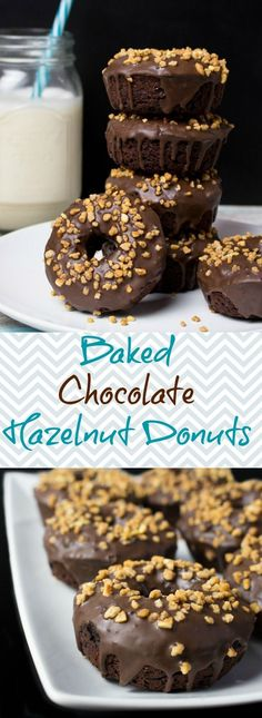 These vegan chocolate hazelnut donuts are not only super delicious and easy to make, but also healthier because they are baked, not fried! It might sound strange, but I used kidney beans for the batter, which made them so moist and chocolatey. #vegan #don