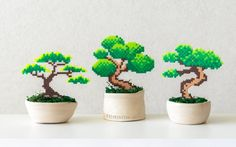 Bonsai tree Pixel Plant in a pot Artificial plant Potted plant perler hama beads Wedding centerpiece pixel art faux plant office decor Hamma Beads 3d, Fuse Beads, Pearler Beads, Pixel Art, Hama Beads Patterns, Beading Patterns, Perler Bead Templates, Iron Beads, Perler Bead Art