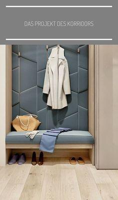 Pufy w zupełnie innym kolorze - wyróżniające się; Hallway Furniture, Entryway Decor, Bedroom Decor, Apartment Entrance, House Entrance, Flur Design, Bedroom Wardrobe, Wardrobe Design, Closet Designs