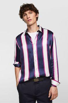 ed863bd62 Image 2 of STRIPED SATIN SHIRT from Zara Satin Shirt, Sheer Shirt, Silk  Satin