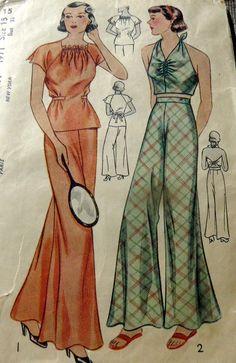 LOVELY VTG 1930s BEACH & SLEEPING PAJAMAS Sewing Pattern 15/33