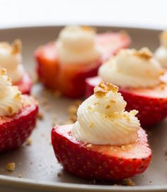 """Deviled Hearts"" - strawberries stuffed with cream cheese filling and topped with graham crumble."