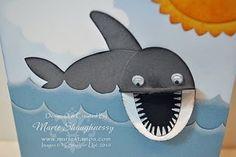"Shark Attack! Whisper White, Basic Gray, Basic Black, Marina Mist, Daffodil Delight Ink – Basic Gray, Bashful Blue, More Mustard, Pumpkin Pie Classic, Whisper White Craft, White Signo Gel Pen Accessories – Mono Multi, wiggle eyes Punches – 5 Petal, 2"" x 1-3/8"" Oval XL, 1-3/4"" x 7/8"" Oval Large, 2-3/8"" Scallop Circle XL, 1-3/4"" Circle, 3/4"" Circle Medium , 1/2"" Circle Small. Tools – Stampin' Sponges, Sanding Block, Brayer"